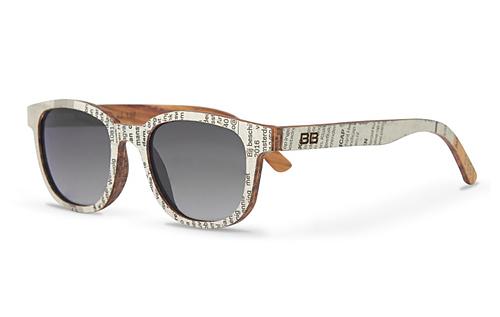 houten zonnebril krantopdruk