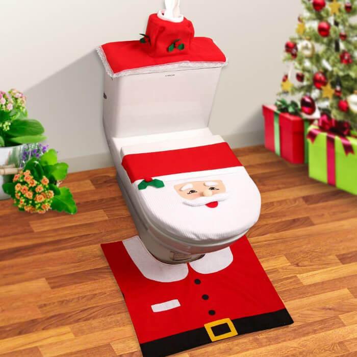 toilet accessoire in kerst stijl