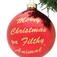 Kerstbal met tekst Home Alone: Merry christmas, ya filthy animal